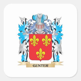 Escudo de armas de Gunter - escudo de la familia Pegatina Cuadrada