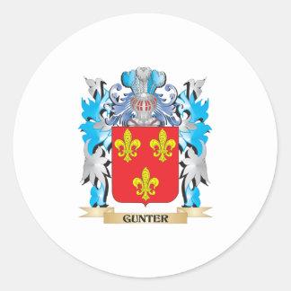 Escudo de armas de Gunter - escudo de la familia Pegatina Redonda