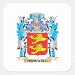 Escudo de armas de Hackwell - escudo de la familia Calcomanías Cuadradass Personalizadas