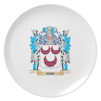 Escudo de armas de Hain - escudo de la familia Platos Para Fiestas