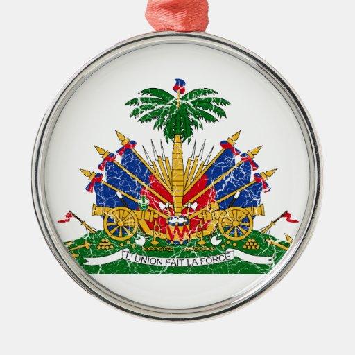 Escudo de armas de Haití Adorno Redondo Plateado