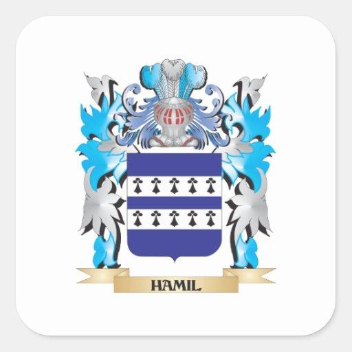 Escudo de armas de Hamil - escudo de la familia Calcomanía Cuadradas Personalizadas