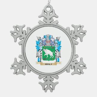 Escudo de armas de Hanly - escudo de la familia Adorno De Peltre En Forma De Copo De Nieve