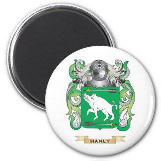 Escudo de armas de Hanly (escudo de la familia) Imán Redondo 5 Cm