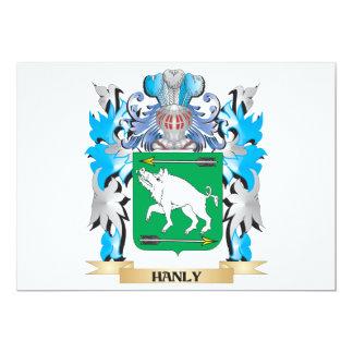 """Escudo de armas de Hanly - escudo de la familia Invitación 5"""" X 7"""""""