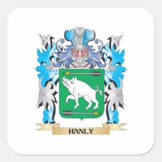 Escudo de armas de Hanly - escudo de la familia Pegatina Cuadrada