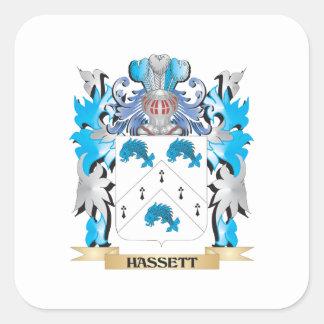 Escudo de armas de Hassett - escudo de la familia Calcomanía Cuadradas Personalizada