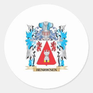 Escudo de armas de Henriksen - escudo de la Pegatina Redonda