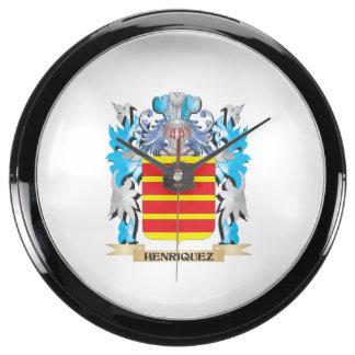 Escudo de armas de Henriquez - escudo de la Reloj Aqua Clock