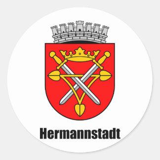 Escudo de armas de Hermannstadt Pegatina Redonda