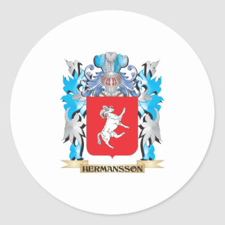 Escudo de armas de Hermansson - escudo de la Pegatina Redonda