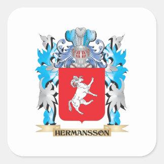 Escudo de armas de Hermansson - escudo de la Pegatina Cuadrada