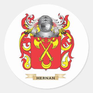 Escudo de armas de Hernan (escudo de la familia) Pegatina Redonda