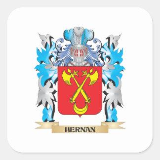 Escudo de armas de Hernan - escudo de la familia Pegatina Cuadrada