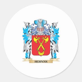 Escudo de armas de Hernan - escudo de la familia Pegatina Redonda
