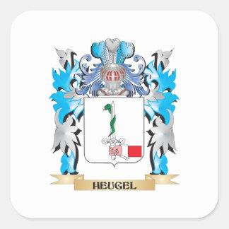 Escudo de armas de Heugel - escudo de la familia Pegatina Cuadrada