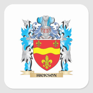 Escudo de armas de Hickson - escudo de la familia Calcomanía Cuadradas Personalizada