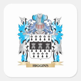 Escudo de armas de Higgins - escudo de la familia Pegatina Cuadrada