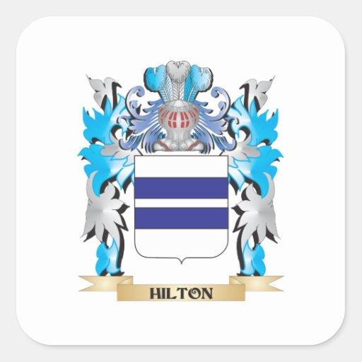 Escudo de armas de Hilton - escudo de la familia Calcomanías Cuadradas Personalizadas