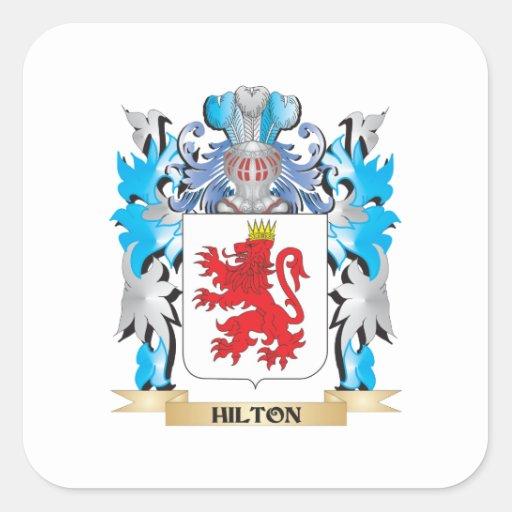 Escudo de armas de Hilton - escudo de la familia Calcomanías Cuadradass Personalizadas