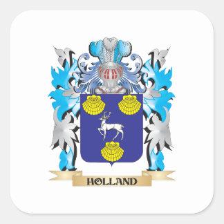 Escudo de armas de Holanda - escudo de la familia Calcomanías Cuadradass Personalizadas