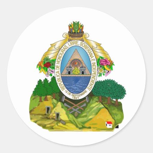 Escudo de armas de Honduras Etiquetas Redondas
