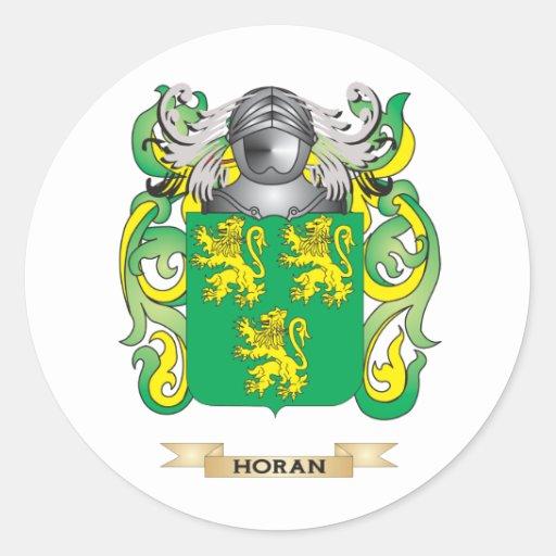 Escudo de armas de Horan (escudo de la familia) Pegatina Redonda
