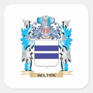 Escudo de armas de Hulton - escudo de la familia Pegatina Cuadrada