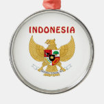 Escudo de armas de INDONESIA Adorno Redondo Plateado