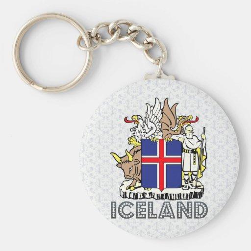 Escudo de armas de Islandia Llavero Redondo Tipo Pin
