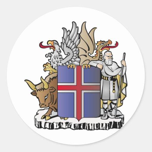 Escudo de armas de Islandia Pegatina Redonda