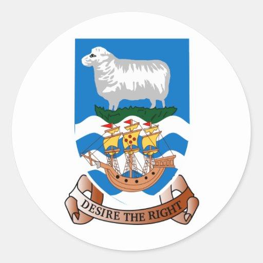 Escudo de armas de Islas Malvinas Etiquetas Redondas