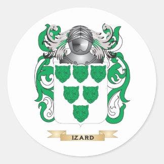 Escudo de armas de Izard (escudo de la familia) Pegatina Redonda