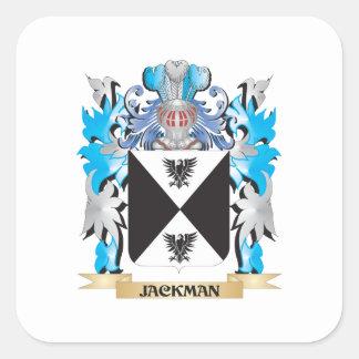 Escudo de armas de Jackman - escudo de la familia Pegatina Cuadrada