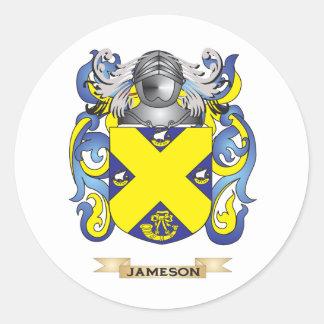 Escudo de armas de Jameson (escudo de la familia) Pegatina Redonda