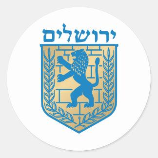 Escudo de armas de Jerusalén - escudo de Oficial Etiquetas Redondas