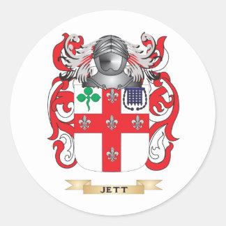 Escudo de armas de Jett (escudo de la familia) Pegatina Redonda