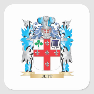 Escudo de armas de Jett - escudo de la familia Pegatina Cuadrada