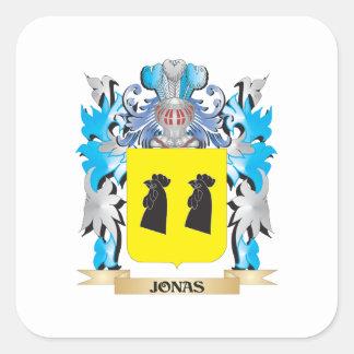 Escudo de armas de Jonas - escudo de la familia Pegatinas Cuadradases Personalizadas