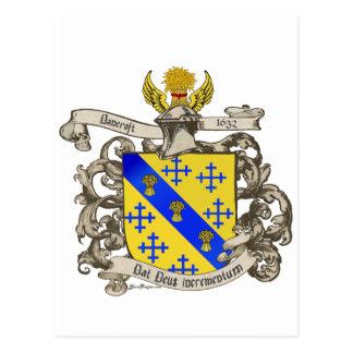 Escudo de armas de Juan Bancroft de Lynn, mA 1632 Tarjetas Postales