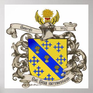 Escudo de armas de Juan Bancroft de Lynn, Massachu Póster