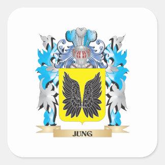 Escudo de armas de Jung - escudo de la familia Pegatina Cuadrada