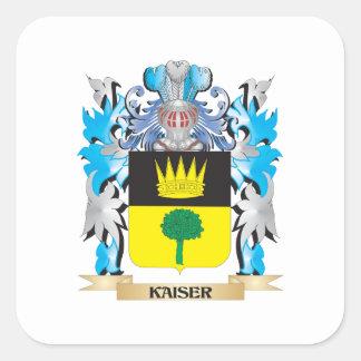 Escudo de armas de Kaiser - escudo de la familia Pegatina Cuadrada