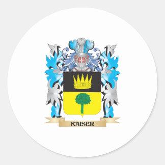 Escudo de armas de Kaiser - escudo de la familia Pegatina Redonda