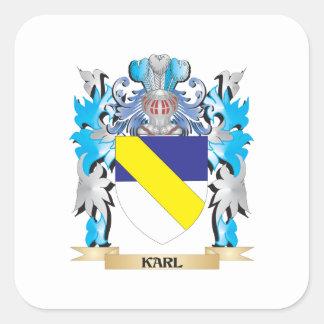 Escudo de armas de Karl - escudo de la familia Calcomanías Cuadradass