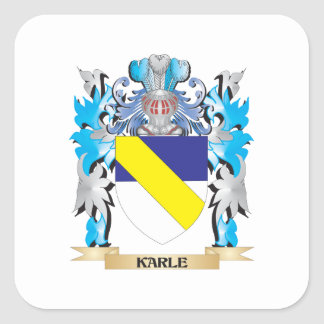 Escudo de armas de Karle - escudo de la familia Calcomania Cuadradas Personalizadas