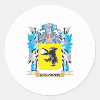 Escudo de armas de Kasparov - escudo de la familia Pegatina Redonda