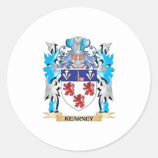 Escudo de armas de Kearney - escudo de la familia Pegatina Redonda