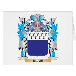 Escudo de armas de Klais - escudo de la familia Tarjeta