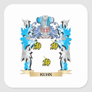 Escudo de armas de Kuhn - escudo de la familia Pegatina Cuadrada